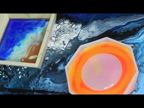 (440) Ocean waves wood trays Plus resin Ashtray