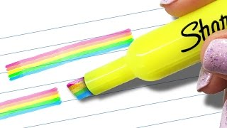 DIY RAINBOW HIGHLIGHTER - Mind-Blowing HACK to Transform Your SCHOOL SUPPLIES!