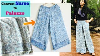 How to make Palazzo Pants from Old Saree in 15 Minutes | Reuse Old Saree | Slick and Natty