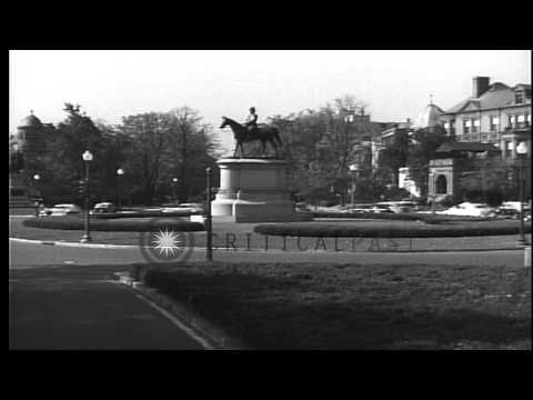 Equestrian statue of General Winfield Scott in the center of Scott Circle, Washin...HD Stock Footage