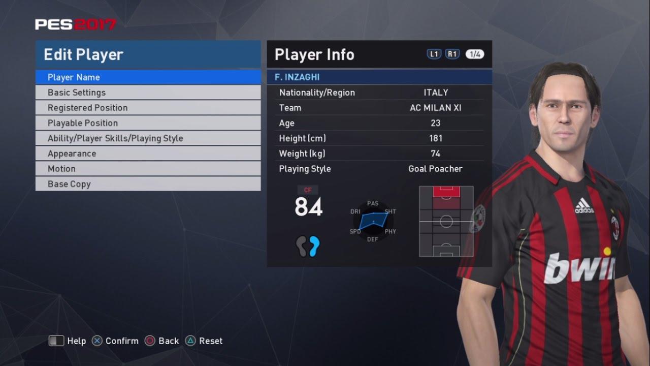 Pro Evolution Soccer 2017 Filippo Inzaghi