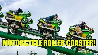 Motorcycle Themed Roller Coaster Multi Angle POV Booster Bike Toverland Netherlands