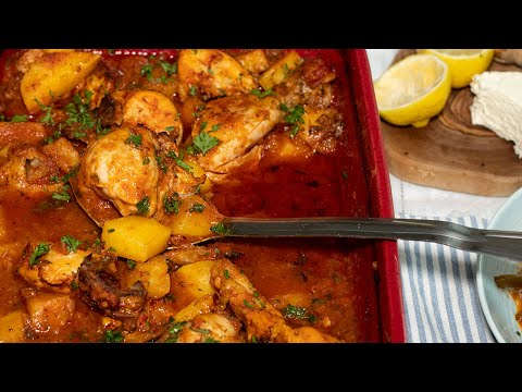 One Pan Chicken & Potatoes Kokinisto: In Greek Style Tomato Sauce