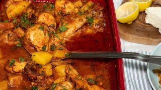 One Pan Chicken & Potatoes Kokinisto: In Greek Style Tomato Sauce