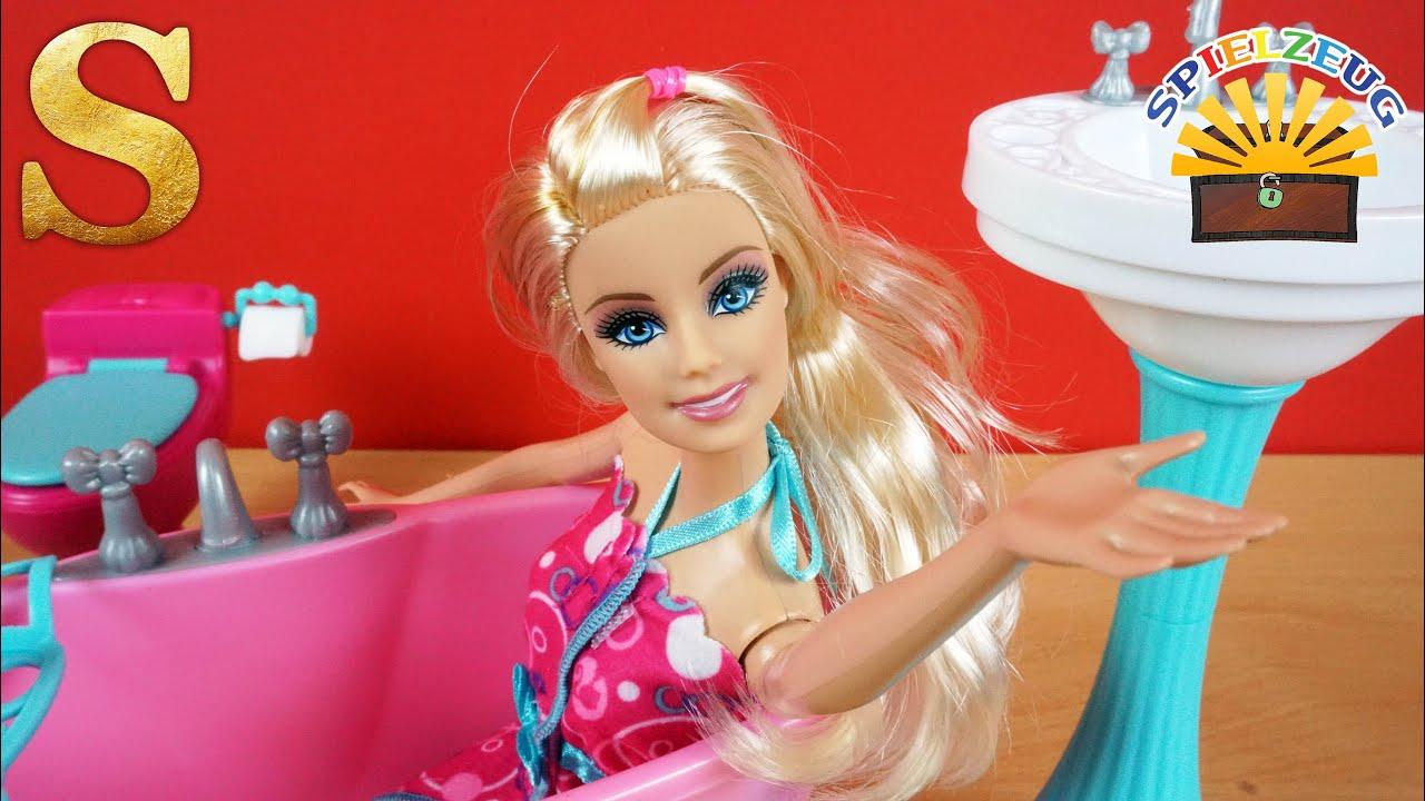 BARBIE Badezimmer Mit Badewanne Für PUPPENHAUS Mattel Y1319 Y2856 Deutsch  Auspacken