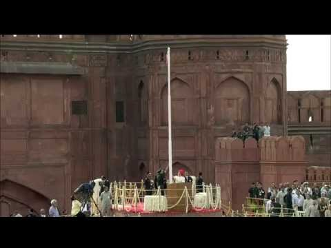PM Modi unfurling the Tricolour flag at Red Fort on 68th Independence Day