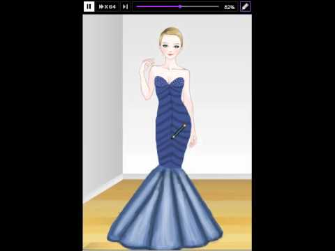 roiworld drawing New Year\'s Day Look Blue Long Prom Dress - YouTube