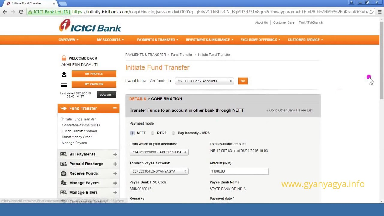 how to transfer fund from icici bank to other bank