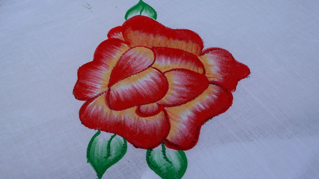 Fabric Paintings Up And Down Red Rose Rose Flower Painting Rose