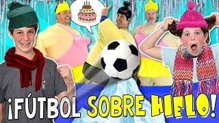 ⚽️ Celebrando el CUMPLE de PAPI con... ¡¡FÚTBOL sobre HIELO!! ❄️ Reto FÚTBOL RESBALADIZO thumbnail