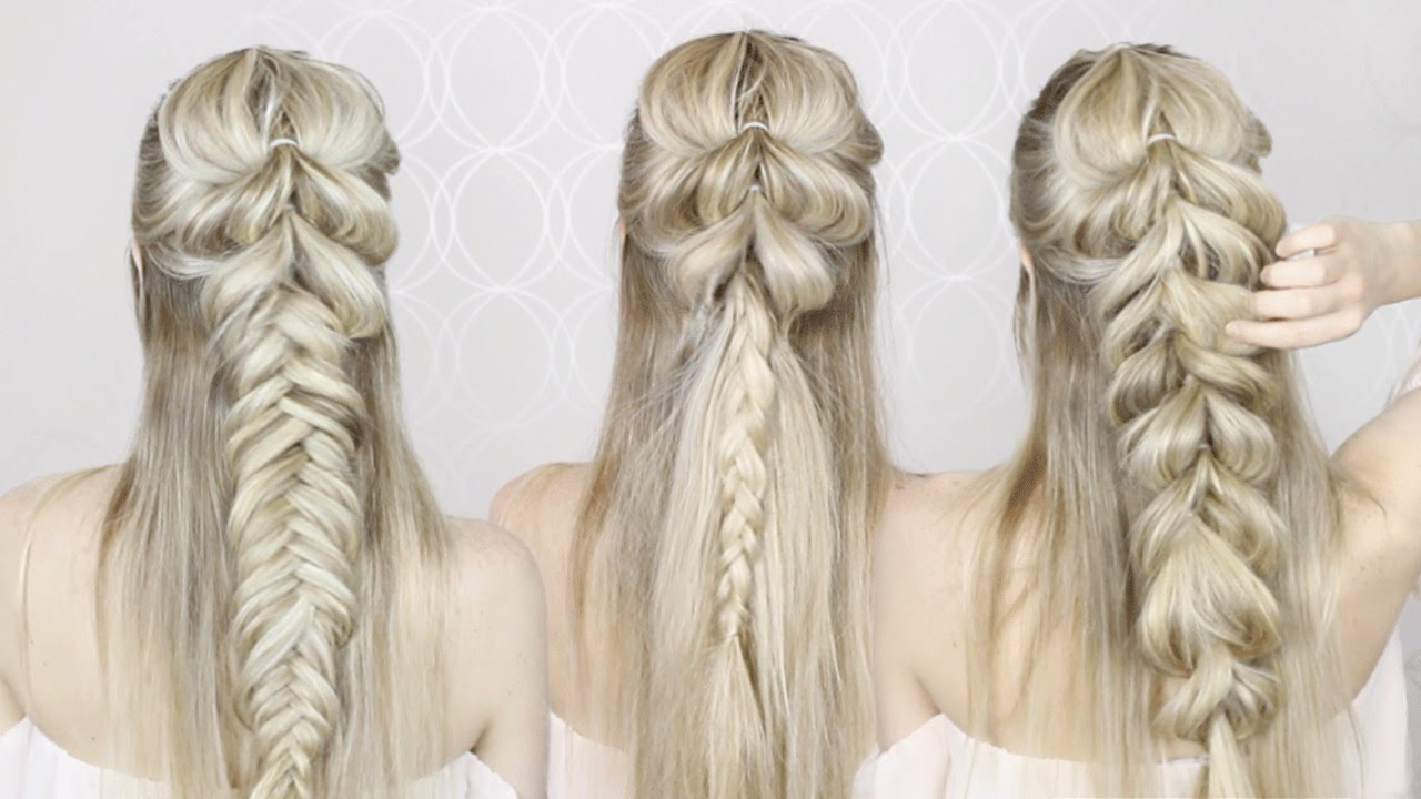 HOW TO: Half-Up Half-Down Hairstyle | Pull Through Braid, Fishtail ...
