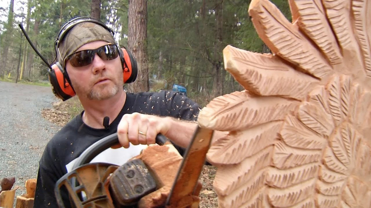 Chainsaw carvings outside victoria victoria