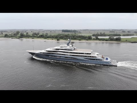 4K | Yacht Project SHU back from Seatrail - Lürssen shipyard