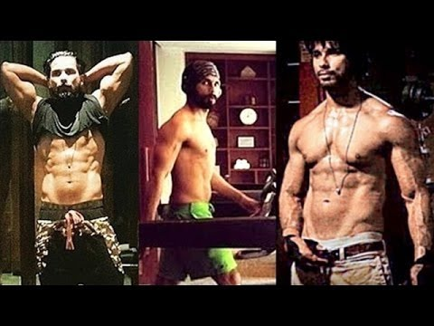 """Shahid Kapoor doing workout for his upcoming movie """"Rangoon"""""""