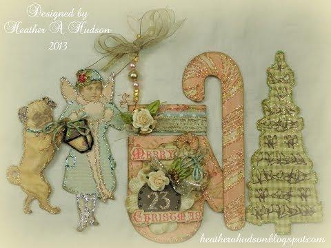 Gorgeous DIY Vintage Ephemera Victorian paper Pink Christmas Mitten Ornament tags