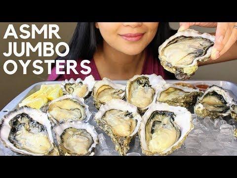 Asmr JUMBO RAW OYSTERS Eating Sounds (SLURPING)