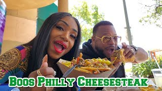 Boos Philly Cheesesteak with the fambam