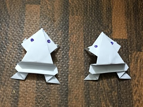 How To Make a Paper Jumping Frog - EASY Origami_ Cách gấp ếch nhảy