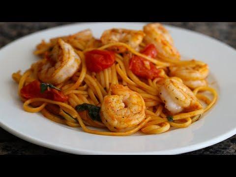 Shrimp Pasta With Burst Grape Tomato Sauce