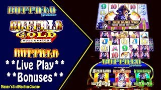 Buffalo Deluxe, Gold and Classic Buffalo slots by Aristocrat Live Plays and Bonuses