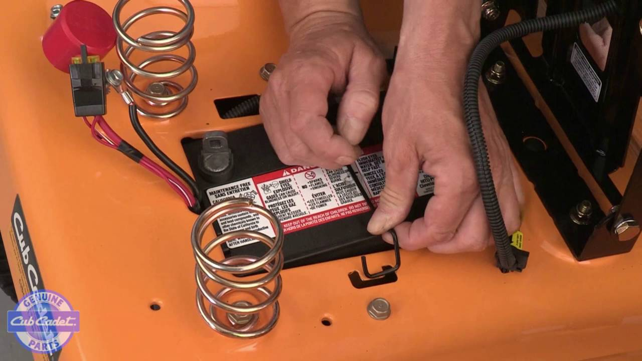 how to change the battery in xt enduro series riding mowers cub cadet [ 1280 x 720 Pixel ]