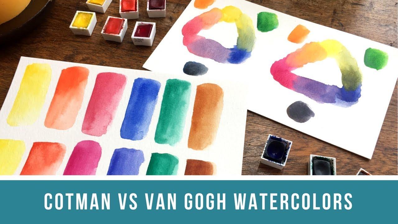 cotman vs van gogh student grade watercolor comparison youtube