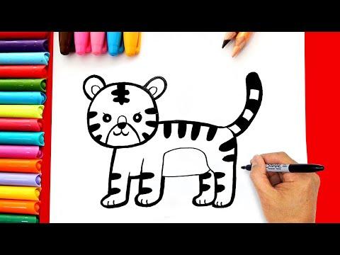Vẽ tranh con hổ đơn giản - Cách vẽ con hổ đơn giản - Dạy bé vẽ con hổ đơn giản
