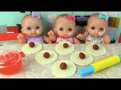 Куклы Пупсики Кушают Пельмени Играем Лепим Пластилин Плей До Еда из пластилина Игрушки Для детей