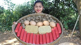 Awesome Cooking Porridge Ramen Delicious - Cook Meatballs Recipe - Village Food Factory