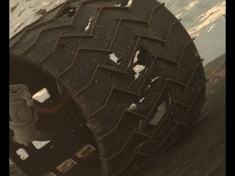 Curiosity Rover Left Middle Wheel Seriously Worn Out