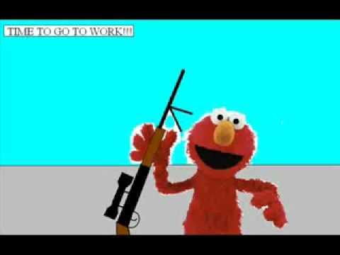 Elmo kills barney !!!