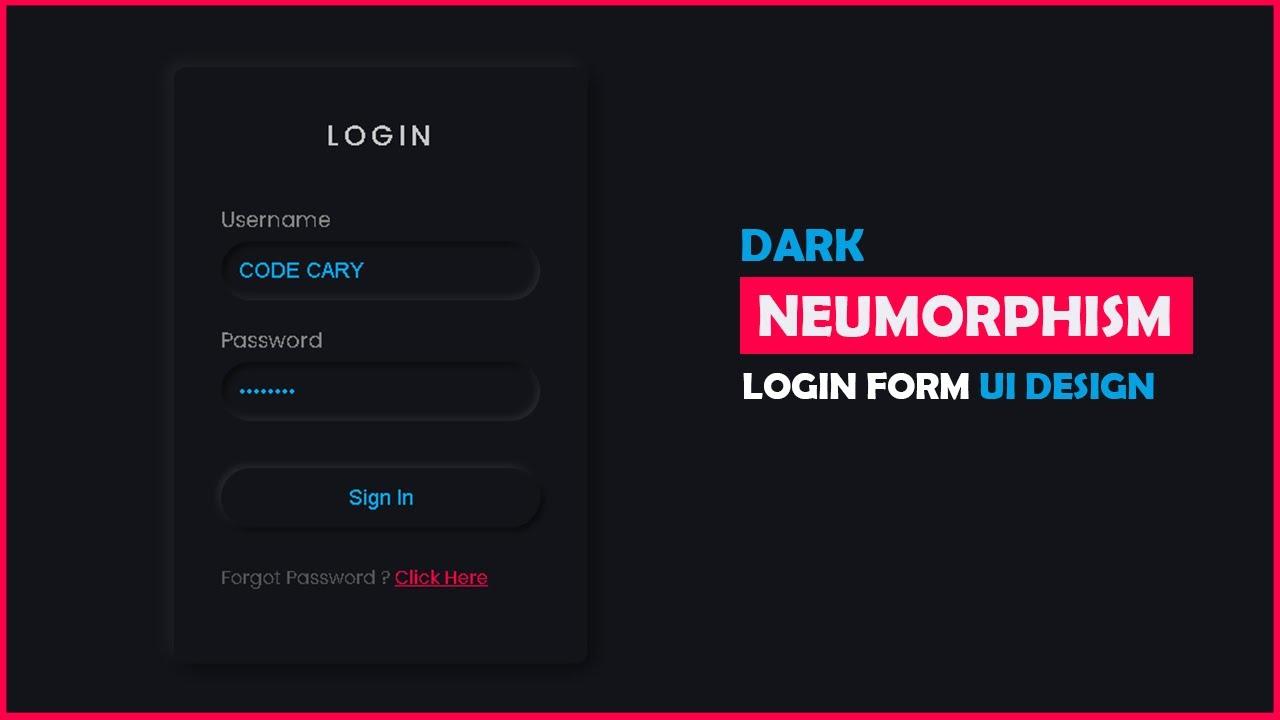 CSS Dark Neumorphism Login Form UI Design   Neumorphism Tutorial
