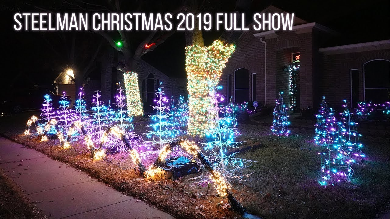 Steelman Christmas Full Light Show 2019 - Most Wonderful Time Of The Year & Sleigh Ride