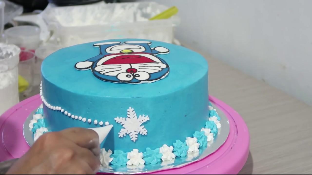 How To Make Birthday Cake Doraemon Easy Cara Membuat Kue Ulang Tahun Doraemon Yang Mudah