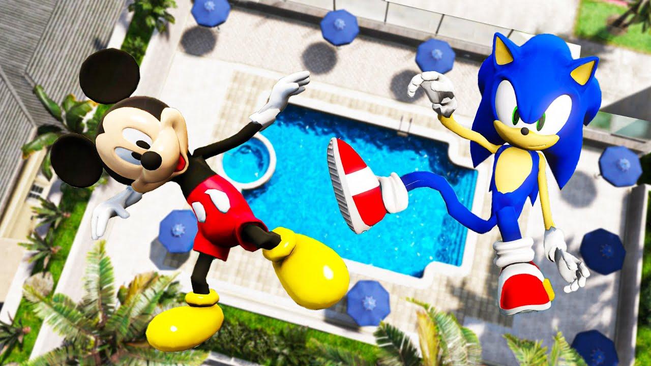 GTA 5 Sonic vs Mickey Mouse Water Ragdolls & Fails Ep.5 [Euphoria Physics / Funny Moments]