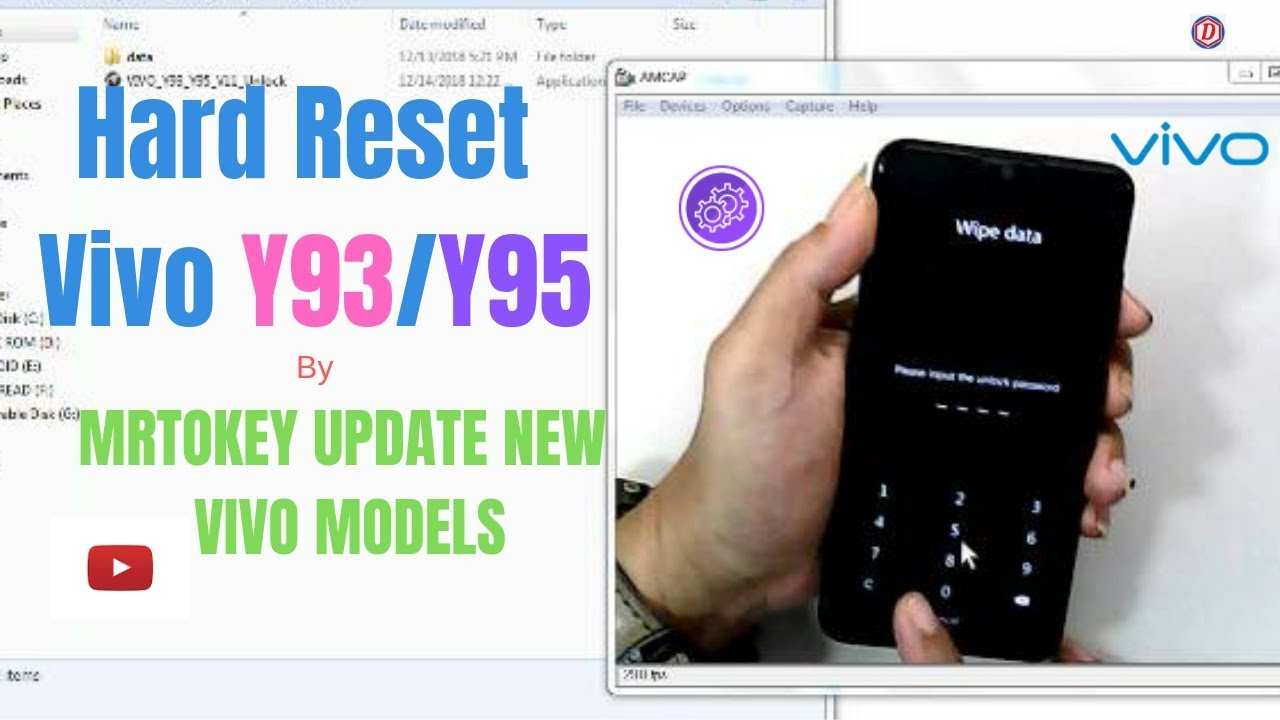 Vivo Y95/y93 Hard Reset||Remove Pin Lock||unlock Frp By mrt Dongle