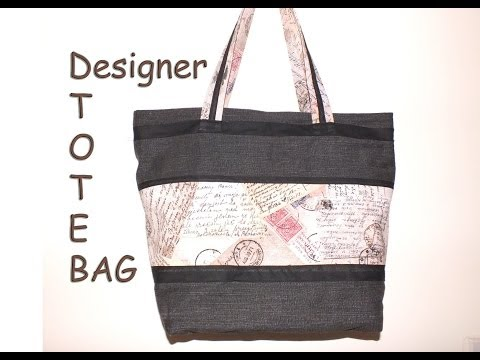 Designer tote bag / Recycled jeans / with zip closure/DIY Ba