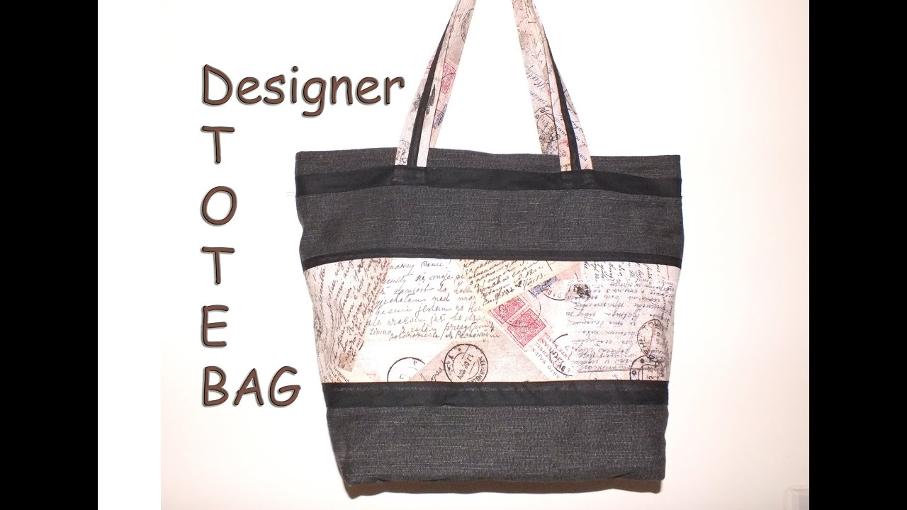 Designer tote bag / Recycled jeans / with zip closure/DIY Bag Vol ...