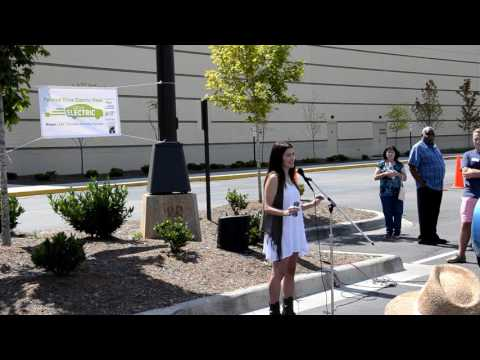 Leilani Munter speaking at the National Drive Electric Week Car Show in Asheville, NC 9/11/16