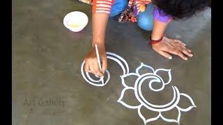 Easy Creative Beautiful Border Rangoli designs  Simple Flower side Kolam designs