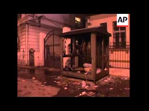 Aftermath of damage to US and Croatian embassies