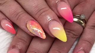 Multicoloured ombré | Acrylic Nails | All Powder Design