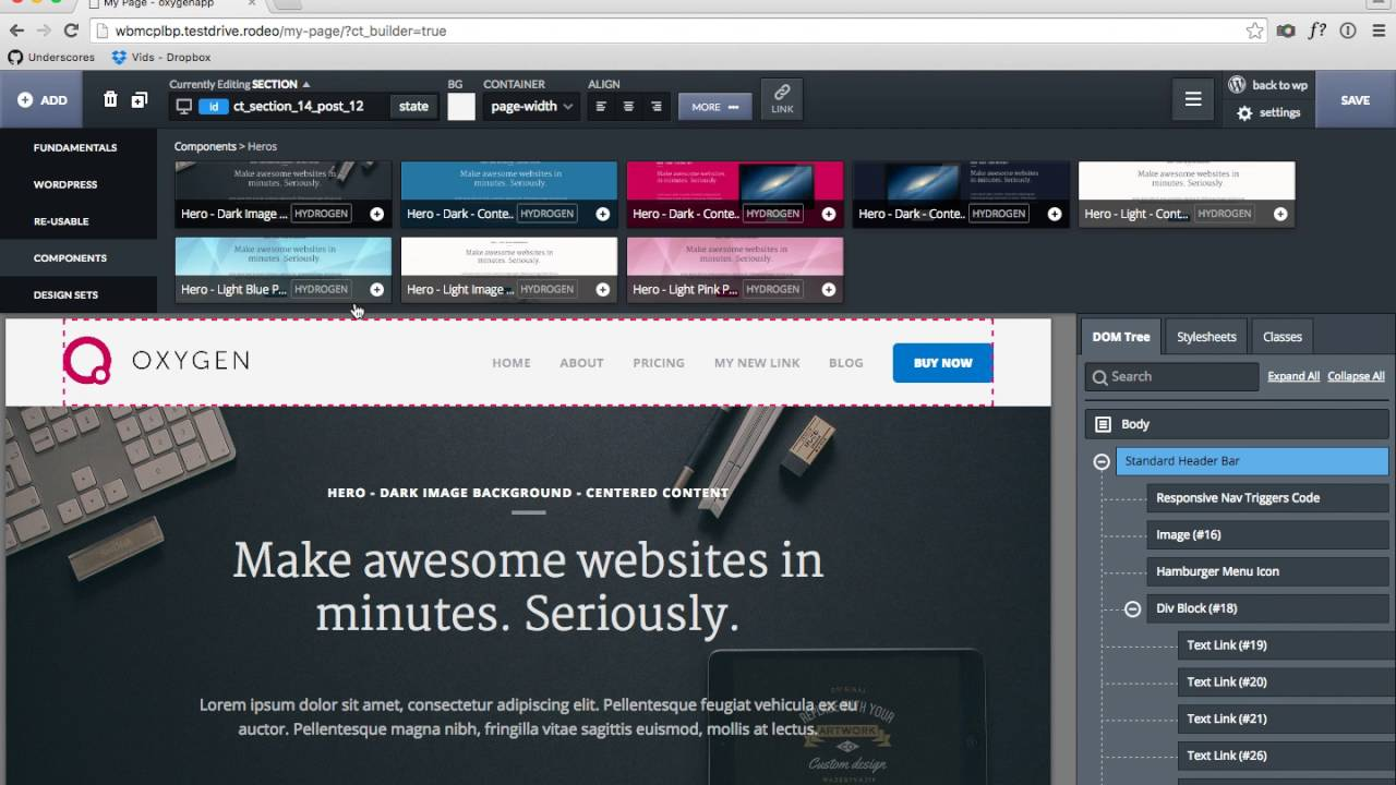 introducing oxygen - visual website design software for wordpress