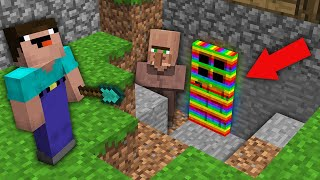 Minecraft NOOB vs PRO: WHY VILLAGER HIDE STRANGE RAINBOW DOOR UNDER HOUSE? Challenge 100% trolling