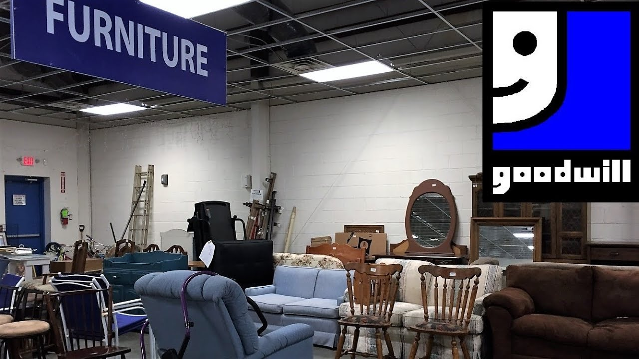 GOODWILL FURNITURE SOFAS ARMCHAIRS CHAIRS TABLES - SHOP WITH ME SHOPPING  STORE WALK THROUGH 7K