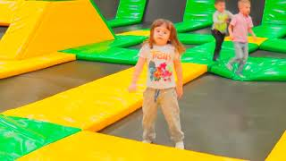 David has fun with his father on Trampolines Funny Children Rhymes Baby Songs Nursery Songs