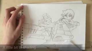 Manga Drawing - Boy with 2 guns [Step by Step]