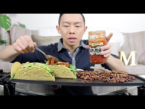 TACO MUKBANG | Ground Beef + Salsa | Eating Show
