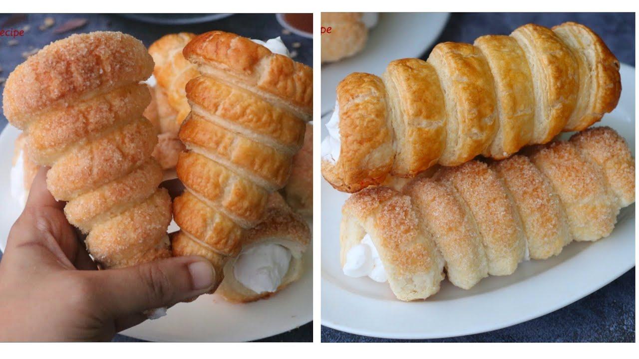 ২ ধরনের ক্রিম রোল ঘরে তৈরি পাফ পেস্ট্রি সিট দিয়ে (চুলায় এবং ওভেন)।ক্রিম রোল।Cream Roll।Puff Pastry