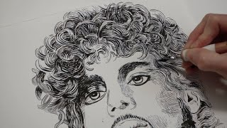 Prince Drawing Tribute with India Ink and Dip Pen